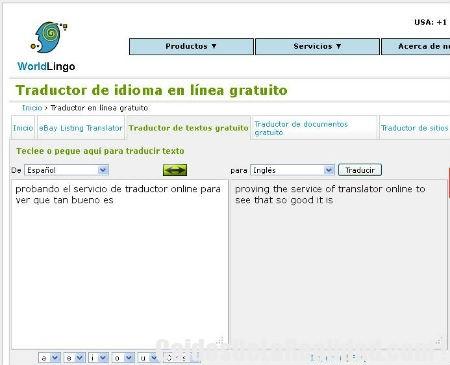 worldlingo, traductor de textos online