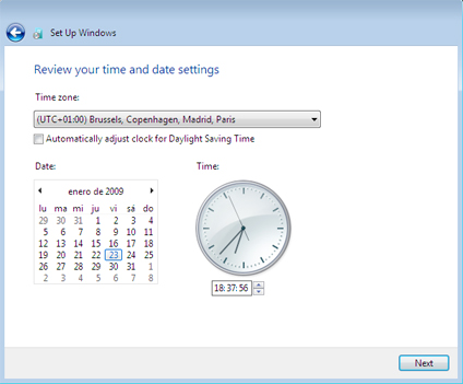fecha hora windows 7